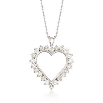 "2.00 ct. t.w. Diamond Open-Space Heart Pendant Necklace in 14kt White Gold. 18"", , default"