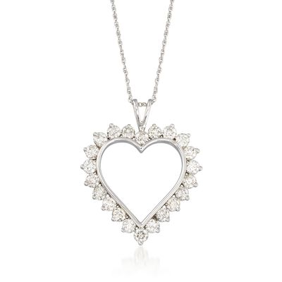 2.00 ct. t.w. Diamond Open-Space Heart Pendant Necklace in 14kt White Gold, , default