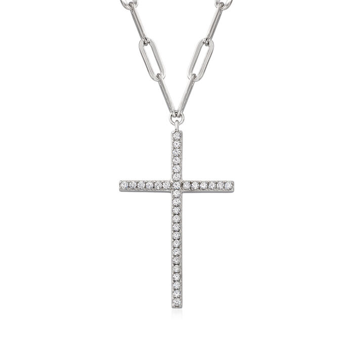 Charles Garnier .80 ct. t.w. CZ Cross Paper Clip Link Necklace in Sterling Silver