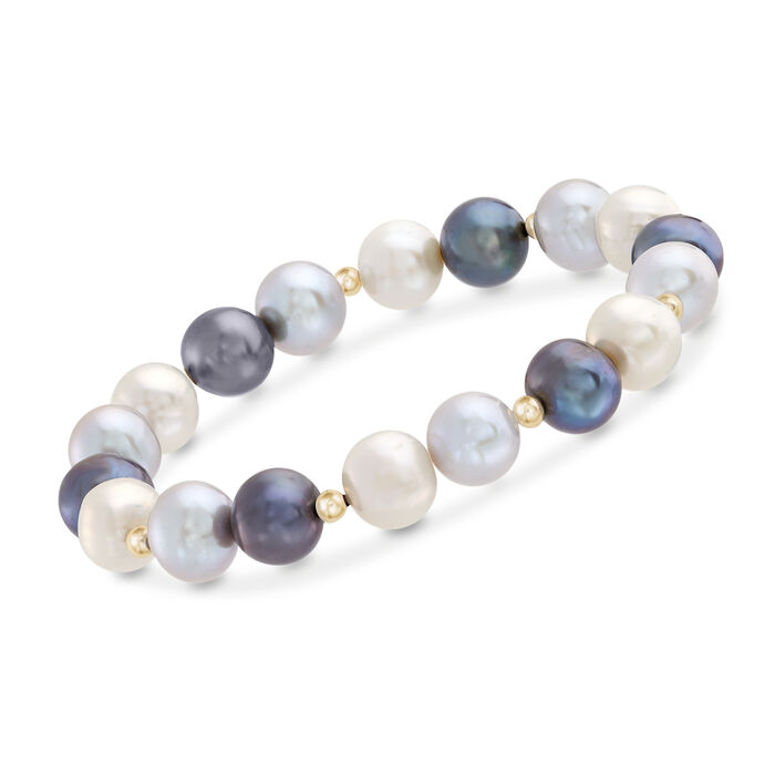 9-10mm Multicolored Cultured Pearl Stretch Bracelet with 14kt Yellow Gold, , default