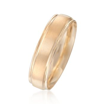 Men's 6mm 14kt Yellow Gold Brushed Wedding Ring, , default