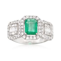 1.00 Carat Emerald and .89 ct. t.w. Diamond Ring in 18kt White Gold, , default