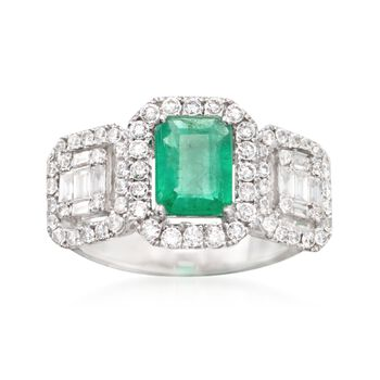 1.00 Carat Emerald and .89 ct. t.w. Diamond Ring in 18kt White Gold. Size 7, , default