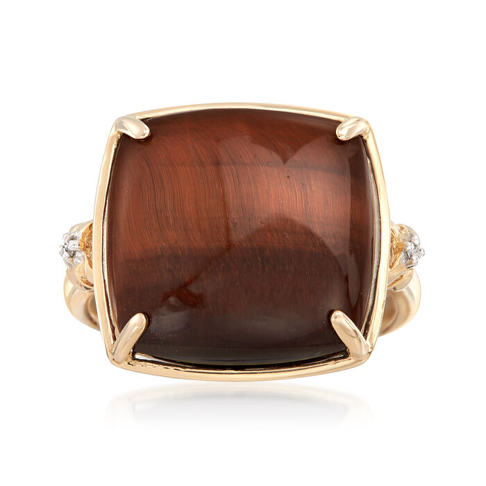 Tiger's Eye Ring with Diamond Accents in 14kt Yellow Gold, , default