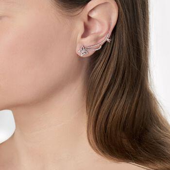 .30 ct. t.w. Diamond Butterfly Ear Crawlers in Sterling Silver, , default
