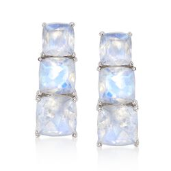 Cushion-Cut Moonstone Linear Earrings in Sterling Silver, , default
