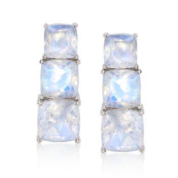 Cushion-Cut Moonstone Linear Earrings in Sterling Silver, , default