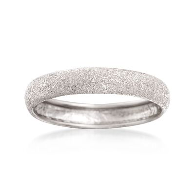 Italian 14kt White Gold Textured Ring, , default