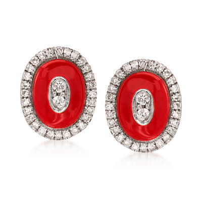 .16 ct. t.w. Diamond Oval Earrings with Red Enamel in 18kt White Gold, , default