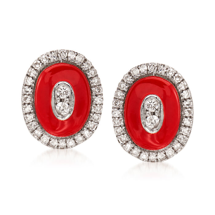 .16 ct. t.w. Diamond Oval Earrings with Red Enamel in 18kt White Gold