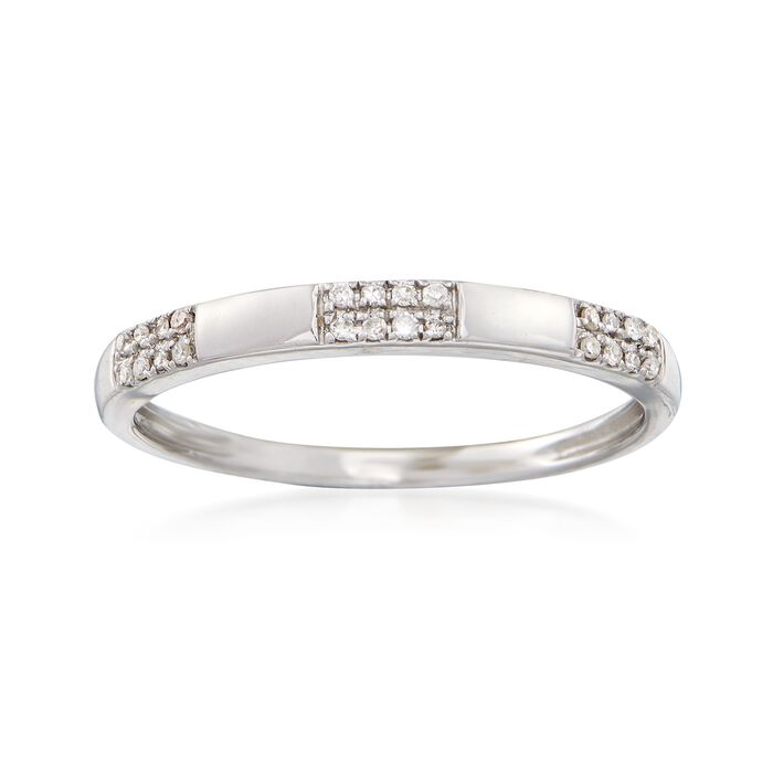 14kt White Gold Block Ring with Diamond Accents, , default