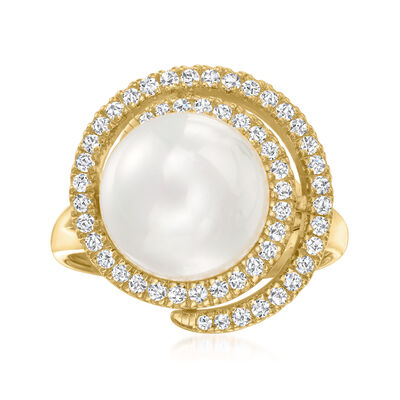 11mm Shell Pearl and .40 ct. t.w. CZ Swirl Ring in 18kt Gold Over Sterling