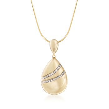 14kt Yellow Gold Teardrop Pendant With Diamond Accents, , default