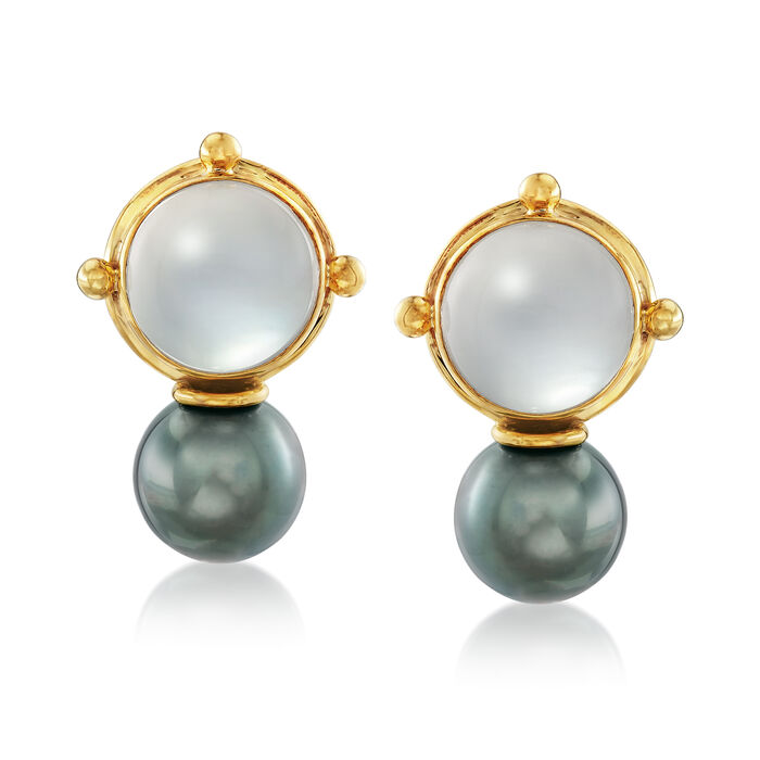 Mazza 10-11mm Cultured Tahitian Pearl and Mother-Of-Pearl Earrings with Quartz in 14kt Yellow Gold, , default