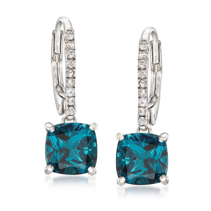 C. 2000 Vintage 3.05 ct. t.w. Blue and White Topaz Drop Earrings in 14kt White Gold, , default