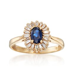 C. 1980 Vintage .55 Carat Sapphire and .30 ct. t.w. Diamond Halo Ring in 14kt Yellow Gold. Size 6.75, , default