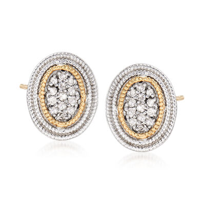 .25 ct. t.w. Diamond Cluster Earrings in Sterling Silver and 14kt Yellow Gold