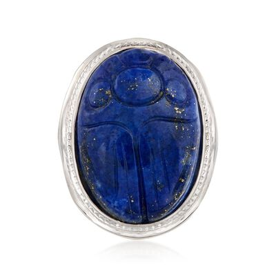 Carved Lapis Scarab Ring in Sterling Silver, , default