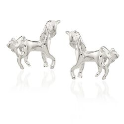 Sterling Silver Polished Unicorn Mini Stud Earrings, , default