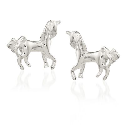 Sterling Silver Polished Unicorn Mini Stud Earrings, , default