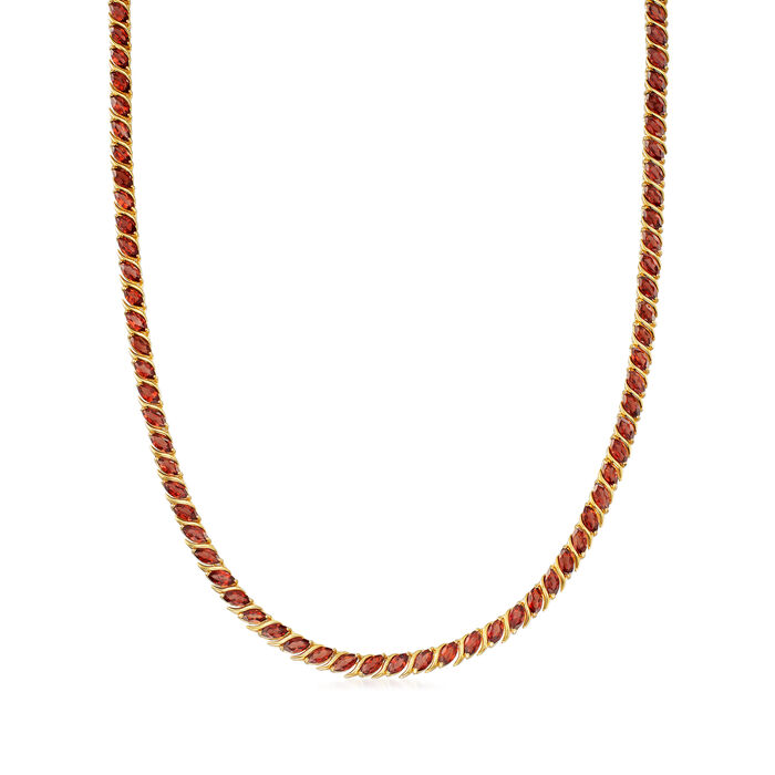20.00 ct. t.w. Garnet Tennis Necklace in 18kt Yellow Gold Over Sterling Silver, , default