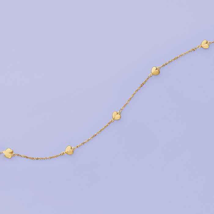14kt Yellow Gold Heart Station Anklet