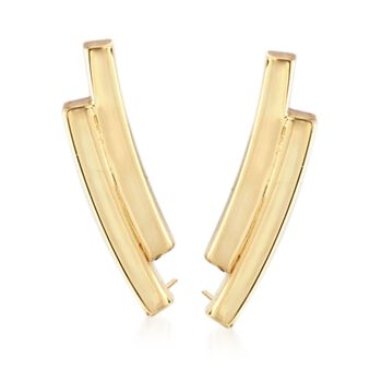 14kt Yellow Gold Mini Double Curve Ear Crawlers, , default