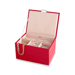 "Mele & Co. ""Allie"" Red Faux Leather Stacking Jewelry Box, , default"