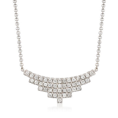 Gabriel Designs .43 ct. t.w. Diamond Small Bib Necklace in 14kt White Gold