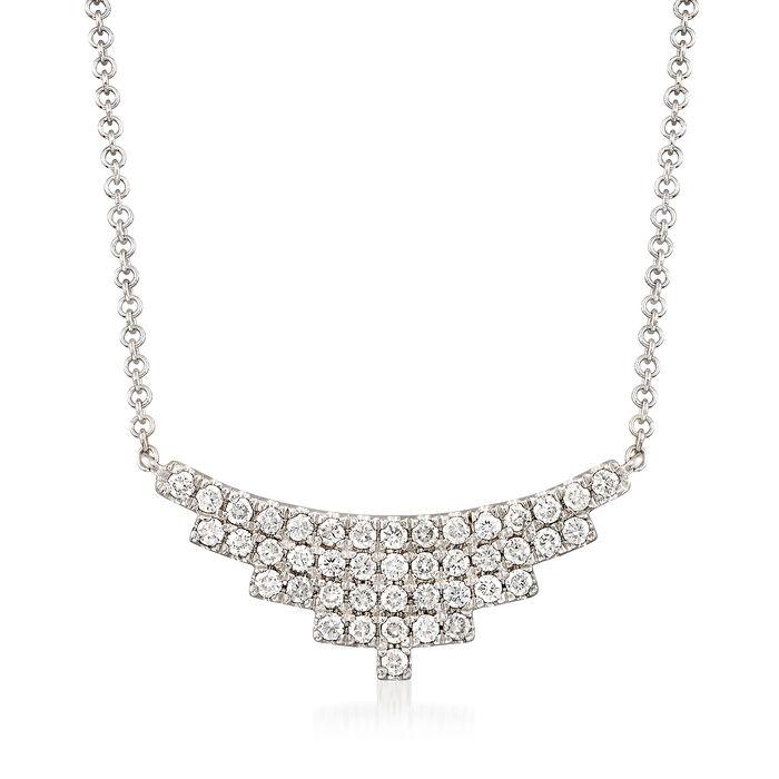 Gabriel Designs .43 ct. t.w. Diamond Small Bib Necklace in 14kt White Gold