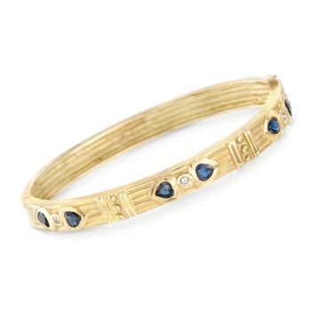 """C. 1990 Vintage .90 ct. t.w. Sapphire and .10 ct. t.w. Diamond Heart Bangle Bracelet in 18kt Yellow Gold. 7"""", , default"""