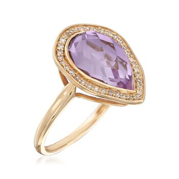 3.60 Carat Pear-Shaped Amethyst and .19 ct. t.w. Diamond Ring in 14kt Yellow Gold, , default