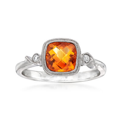 C. 2000 Vintage .95 Carat Citrine Ring with Diamond Accents in 14kt White Gold, , default