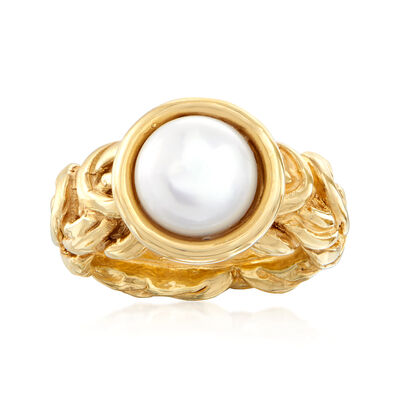 Italian 10mm Cultured Pearl Byzantine Ring in 14kt Yellow Gold, , default