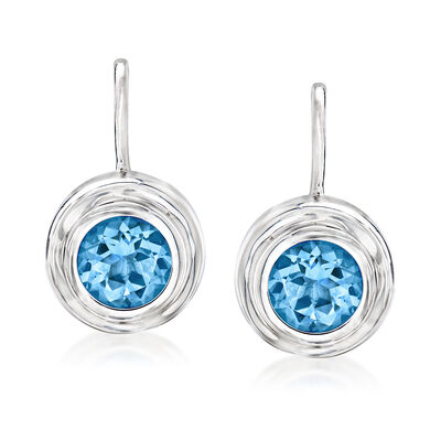 3.20 ct. t.w. Swiss Blue Topaz Circle Drop Earrings in Sterling Silver