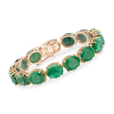 90.00 ct. t.w. Opaque Green Sapphire Tennis Bracelet in 14kt Gold Over Sterling, , default