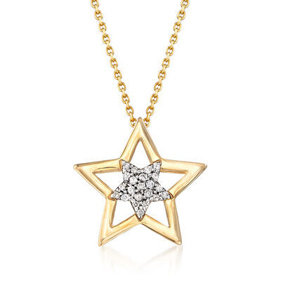 .10 ct. t.w. Diamond Star Pendant Necklace in 14kt Yellow Gold, , default