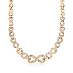 "C. 1980 Vintage 5.25 ct. t.w. Diamond Infinity Necklace in 14kt Yellow Gold. 16.75"", , default"