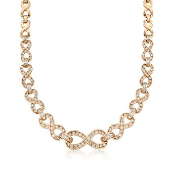 """C. 1980 Vintage 5.25 ct. t.w. Diamond Infinity Necklace in 14kt Yellow Gold. 16.75"""", , default"""