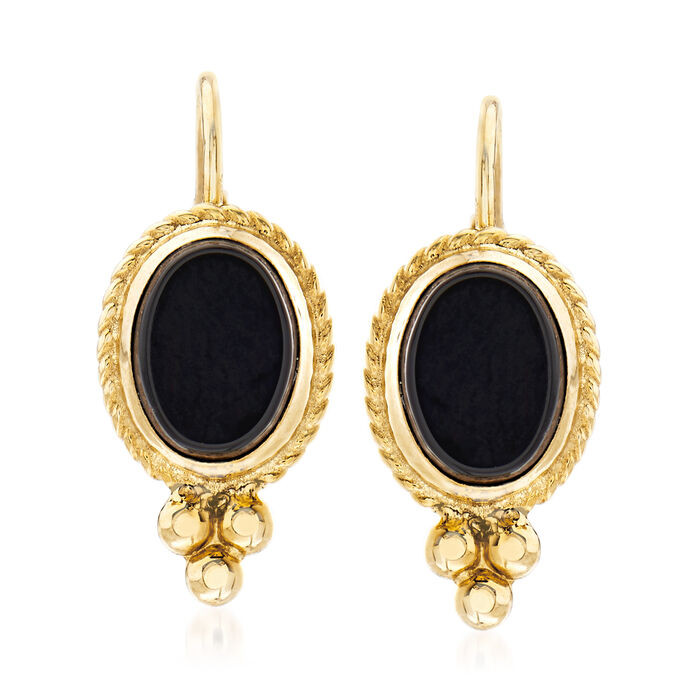 Black Onyx Rope Edge Earrings in 14kt Yellow Gold, , default