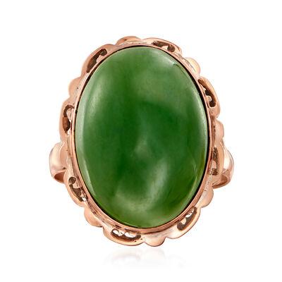 C. 1950 Vintage Nephrite Jade Ring in 10kt Rose Gold