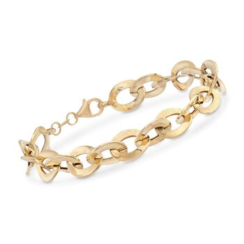 "Italian 18kt Yellow Gold Flat Cable-Link Bracelet. 7"", , default"