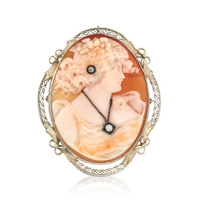 C. 1950 Vintage Pink Shell Cameo Pin Pendant with .10 ct. t.w. Diamonds in 14kt White Gold, , default