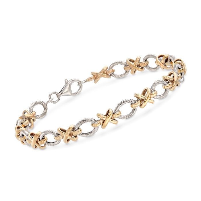 Sterling Silver and 14kt Yellow Gold XO Link Bracelet, , default