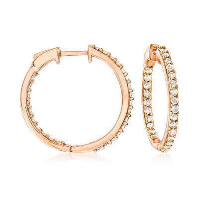 1.00 ct. t.w. Diamond Inside-Outside Hoop Earrings in 18kt Rose Gold Over Sterling