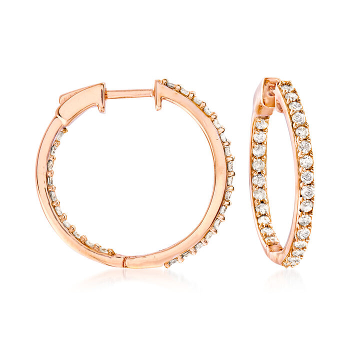 1.00 ct. t.w. Diamond Inside-Outside Hoop Earrings in 18kt Rose Gold Over Sterling