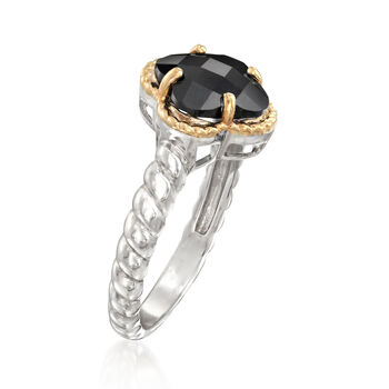 8mm Black Onyx Clover-Shaped Ring in Sterling Silver with 14kt Yellow Gold, , default