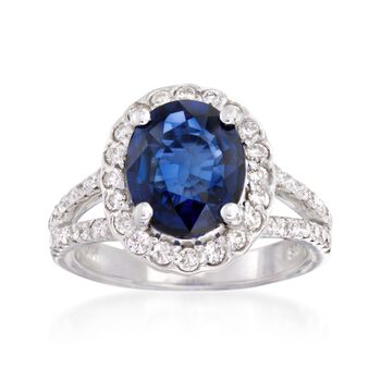 3.60 Carat Sapphire and .85 ct. t.w. Diamond Ring in 14kt White Gold, , default