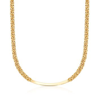 Italian 18kt Gold Over Sterling Byzantine Curved Bar Necklace