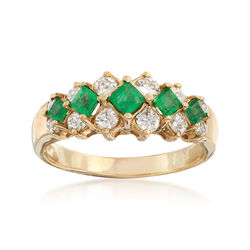 C. 1980 Vintage .75 ct. t.w. Emerald and .70 ct. t.w. Diamond Ring in 14kt Yellow Gold. Size 9, , default